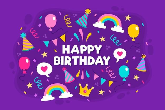 Fondo de fiesta de cumpleaños dibujado a mano con cintas vector gratuito