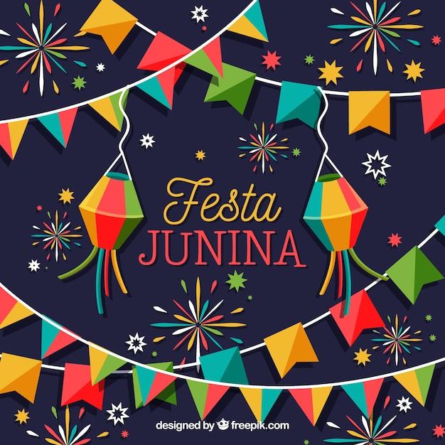 Fondo de fiesta junina con fuegos artificiales coloridos vector gratuito