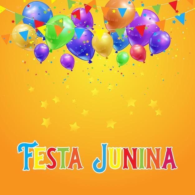 Fondo de fiesta junina con globos, confeti y pancartas. vector gratuito