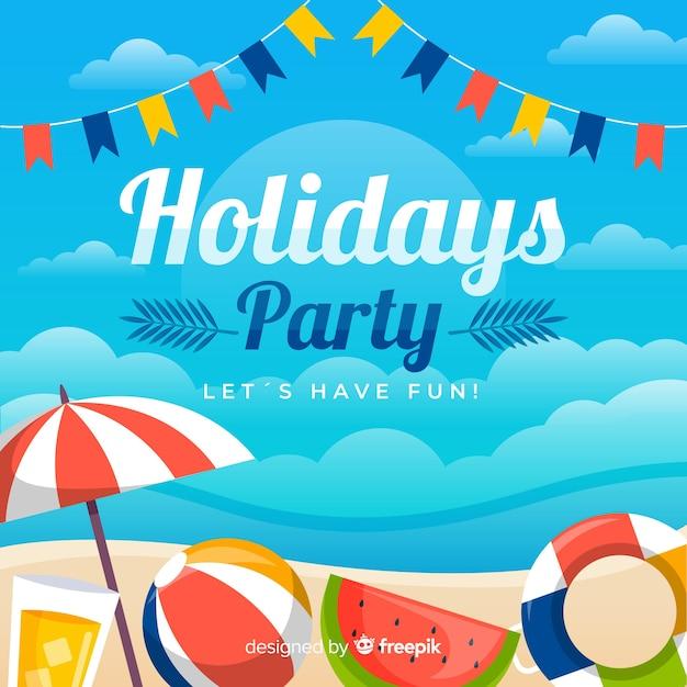 Fondo de fiesta de verano tropical vector gratuito