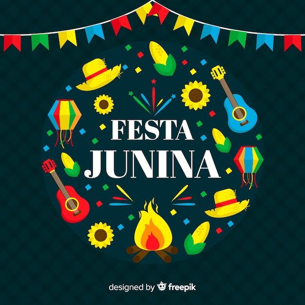 Fondo flat de festa junina vector gratuito
