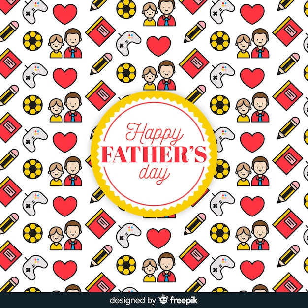 Fondo flat de patrón para el día del padre vector gratuito