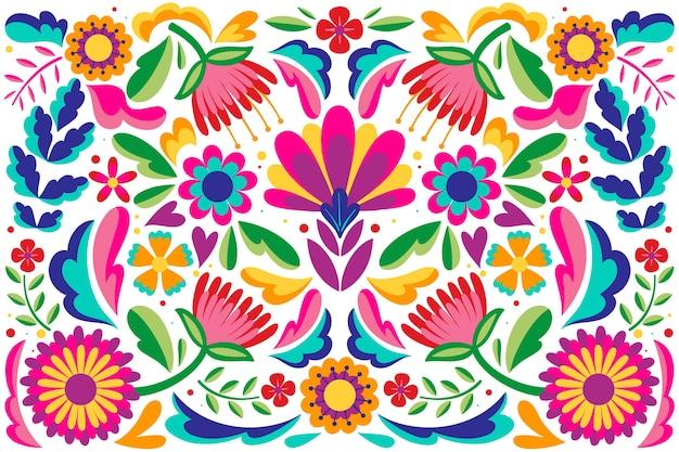 Fondo floral abstracto diseño plano mexicano Vector Premium