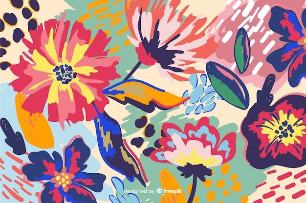 Fondo floral abstracto pintado a mano vector gratuito