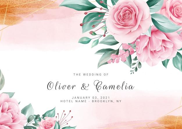 Fondo floral acuarela para plantilla de tarjeta de invitación de boda con flores y salpicaduras de oro Vector Premium