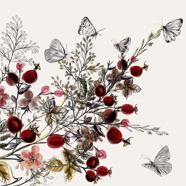 Fondo floral en acuarela vector gratuito