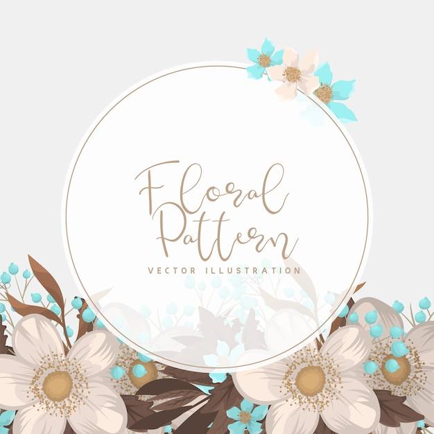 Fondo floral blanco flor frontera vector gratuito