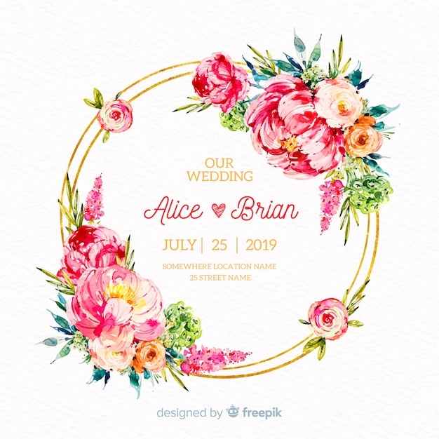 Fondo floral de boda dibujado a mano vector gratuito