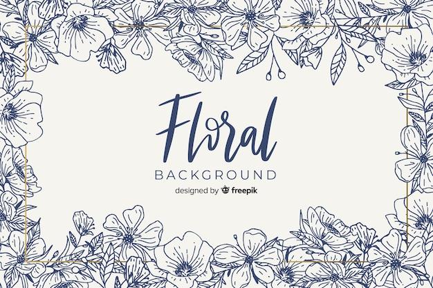 Fondo floral sin color dibujado a mano vector gratuito
