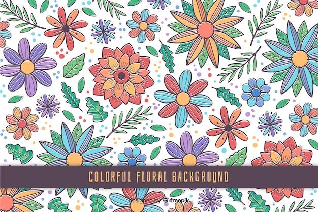 Fondo floral colorido dibujado a mano vector gratuito