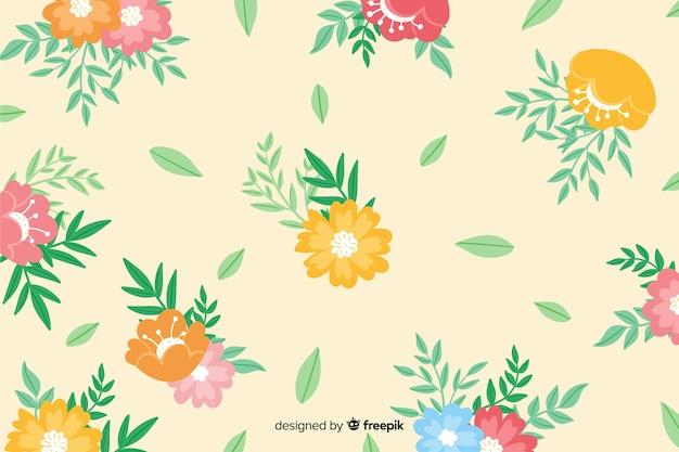 Fondo floral colorido pintado a mano vector gratuito
