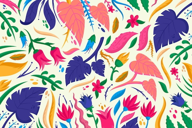 Fondo floral colorido vector gratuito