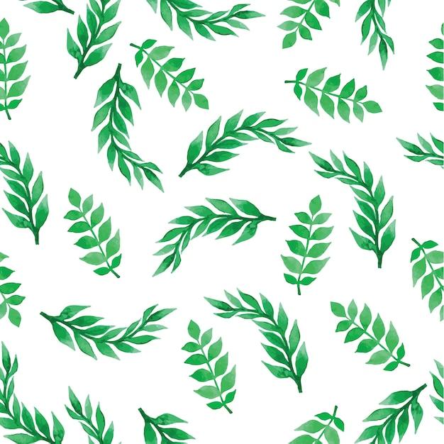 Fondo floral con hojas de acuarela Vector Gratis