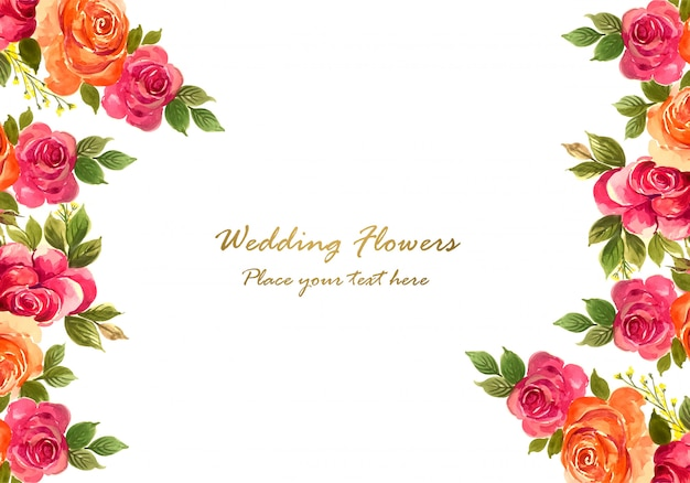 Fondo floral decorativo colorido del marco de la boda vector gratuito