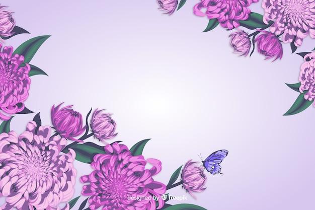 Fondo floral decorativo estilo realista vector gratuito