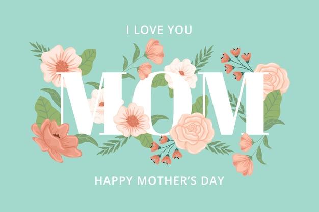 Fondo floral del día de la madre vector gratuito