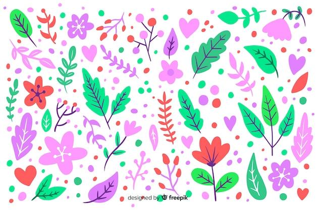 Fondo floral dibujado a mano colores pastel vector gratuito