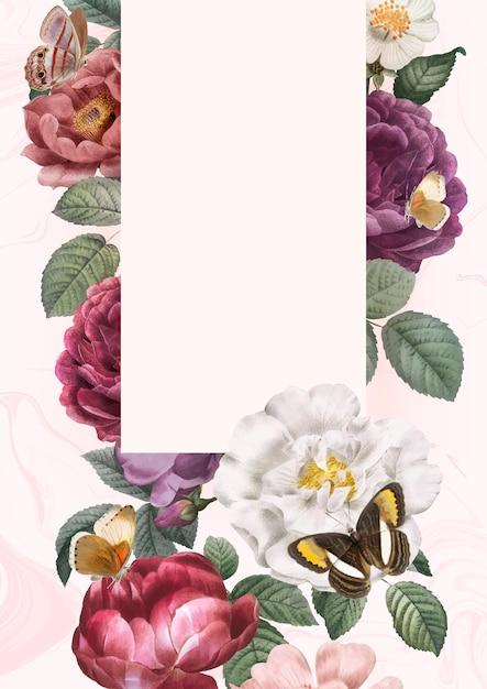 Fondo floral enmarcado vector gratuito