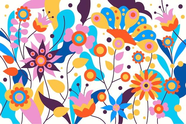 Fondo floral exótico colorido vector gratuito