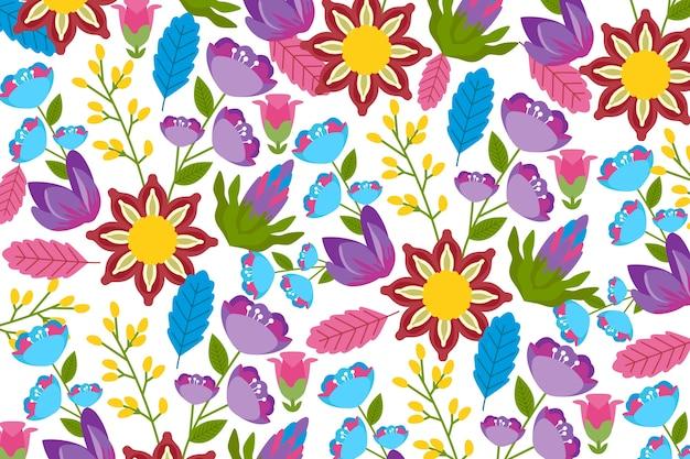 Fondo floral exótico y colorido vector gratuito