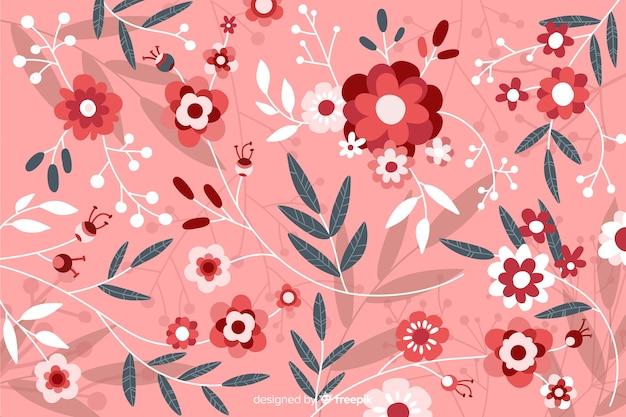 Fondo floral hermoso plano rosa vector gratuito