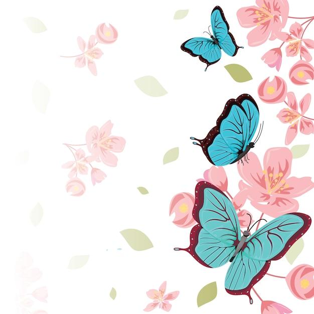 Tarjetas Con Flores Y Mariposas Vectores Fotos De Stock Y