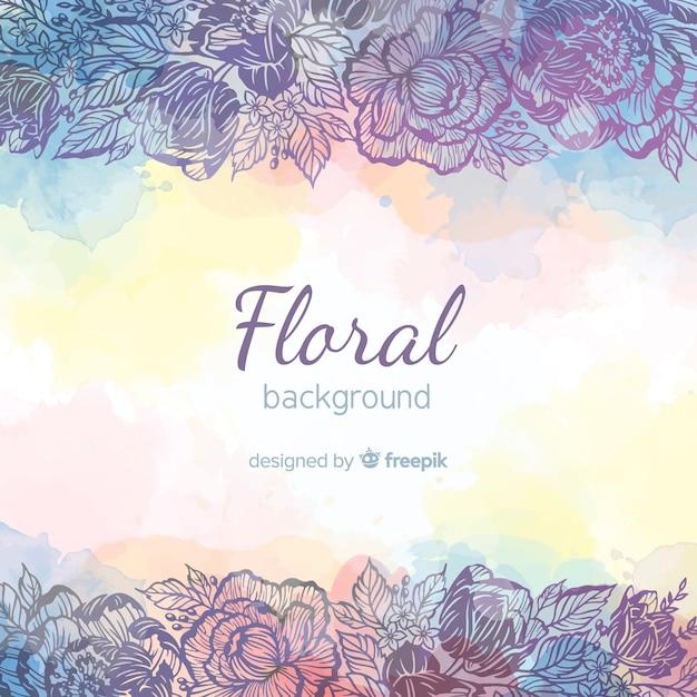 Fondo floral moderno dibujado a mano vector gratuito