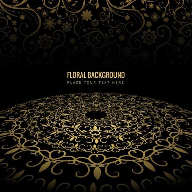 Fondo Floral Negro Con Ornamentos Dorados Descargar