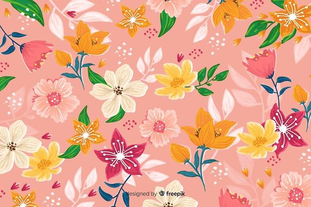 Fondo floral pintado a mano vector gratuito