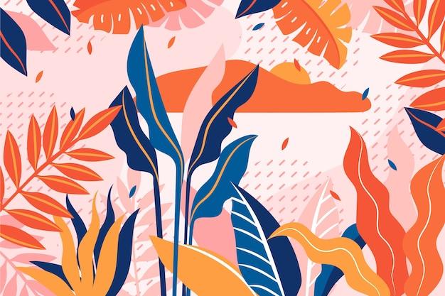 Fondo floral plano abstracto vector gratuito