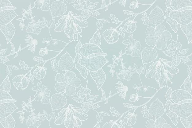 Fondo floral realista dibujado a mano vector gratuito