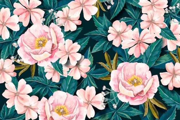 Fondo floral realista pintado a mano vector gratuito