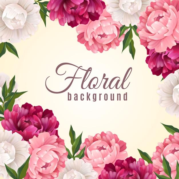 Fondo floral realista vector gratuito