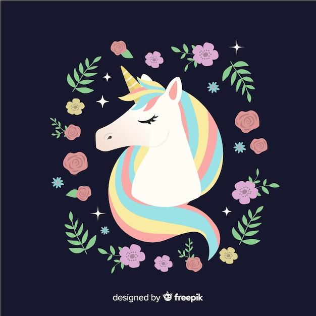 Fondo floral de unicornio adorable en diseño plano vector gratuito