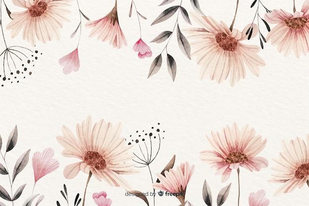 Fondo floral vintage acuarela vector gratuito