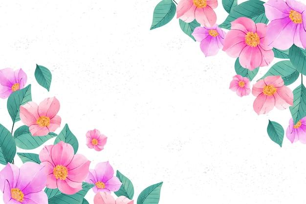 Fondo de flores acuarela en colores pastel con espacio de copia vector gratuito