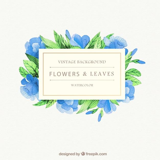 Fondo De Flores Azules De Acuarela Y Hojas Descargar Vectores Gratis