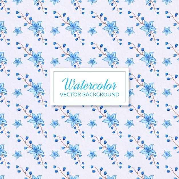 Fondo Con Flores Azules En Acuarela Descargar Vectores Gratis