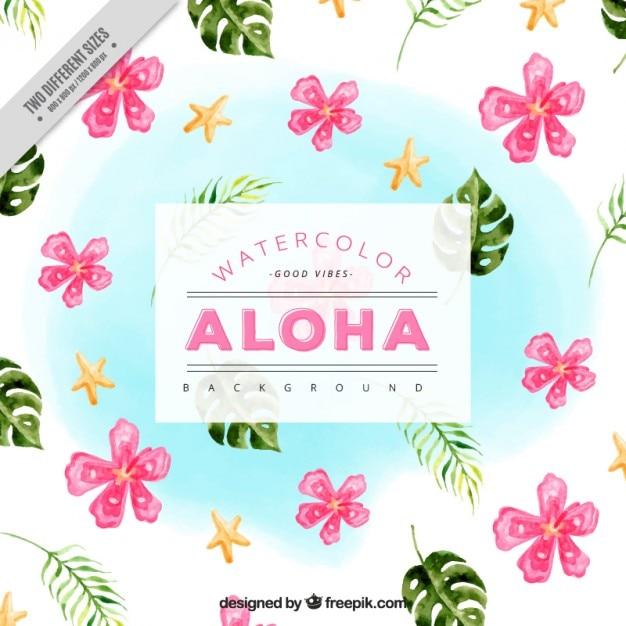 Fondo De Flores Bonitas Hawaianas Y Hojas De Palmera Descargar