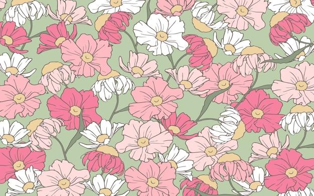 Fondo de flores de color rosa y blanco de contorno handrawn vector gratuito