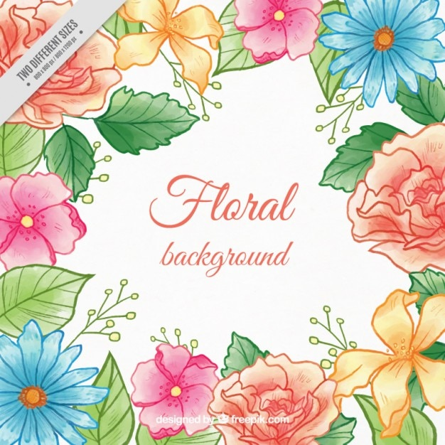Fondo De Flores De Colores Pintadas A Mano Con Hojas Descargar