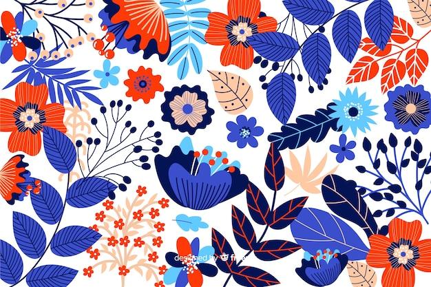 Fondo flores coloridas dibujadas a mano vector gratuito