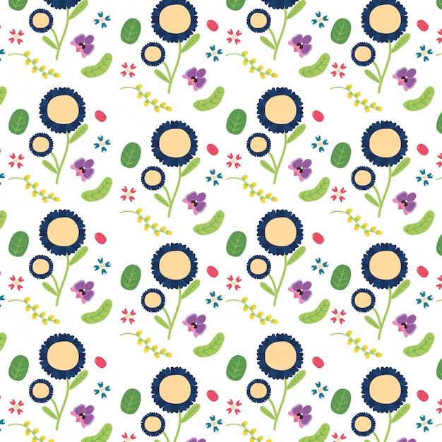 Fondo flores decoración floral flores azules y amarillas ilustración vector gratuito