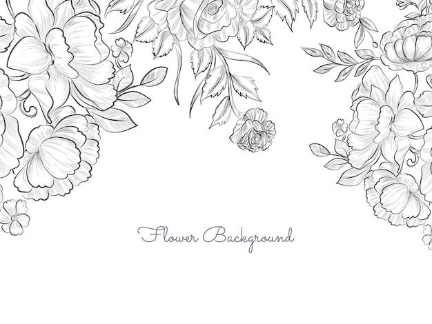 Fondo de flores dibujadas a mano elegante simple vector gratuito