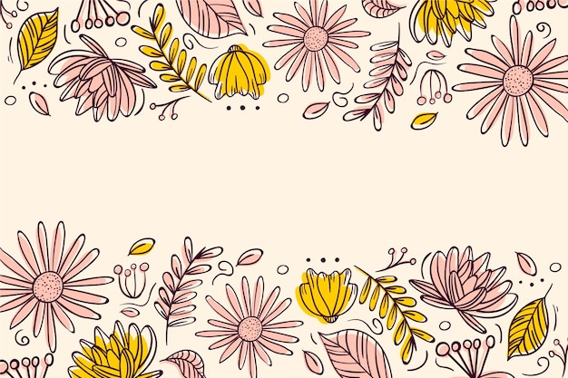 Fondo de flores dibujadas a mano vector gratuito