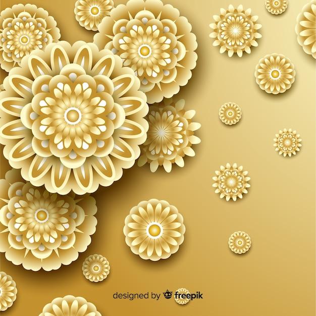 Fondo con flores doradas en 3d, diseño islámico vector gratuito
