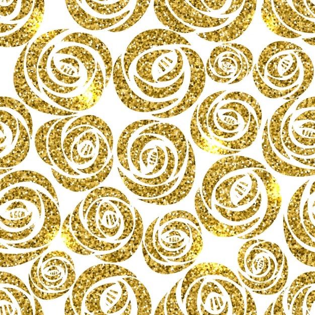 Fondo con flores doradas vector gratuito
