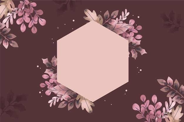 Fondo de flores de invierno con insignia vacía dibujado a mano vector gratuito