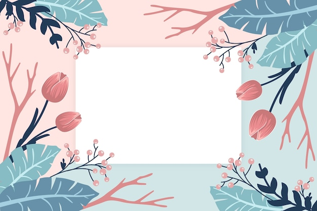 Fondo de flores de invierno con placa vacía vector gratuito