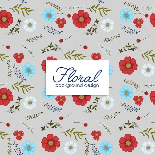 Fondo de flores rojo, azul claro, flores blancas de patrones sin fisuras vector gratuito